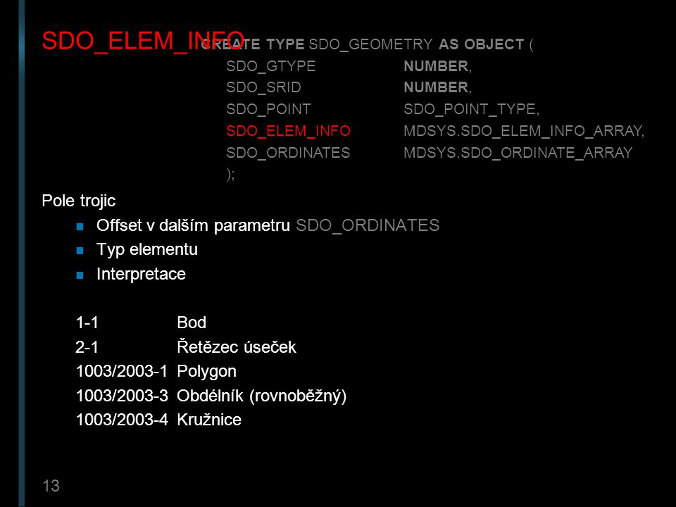SDO_ELEM_INFO Pole trojic Offset v dalším parametru SDO_ORDINATES
