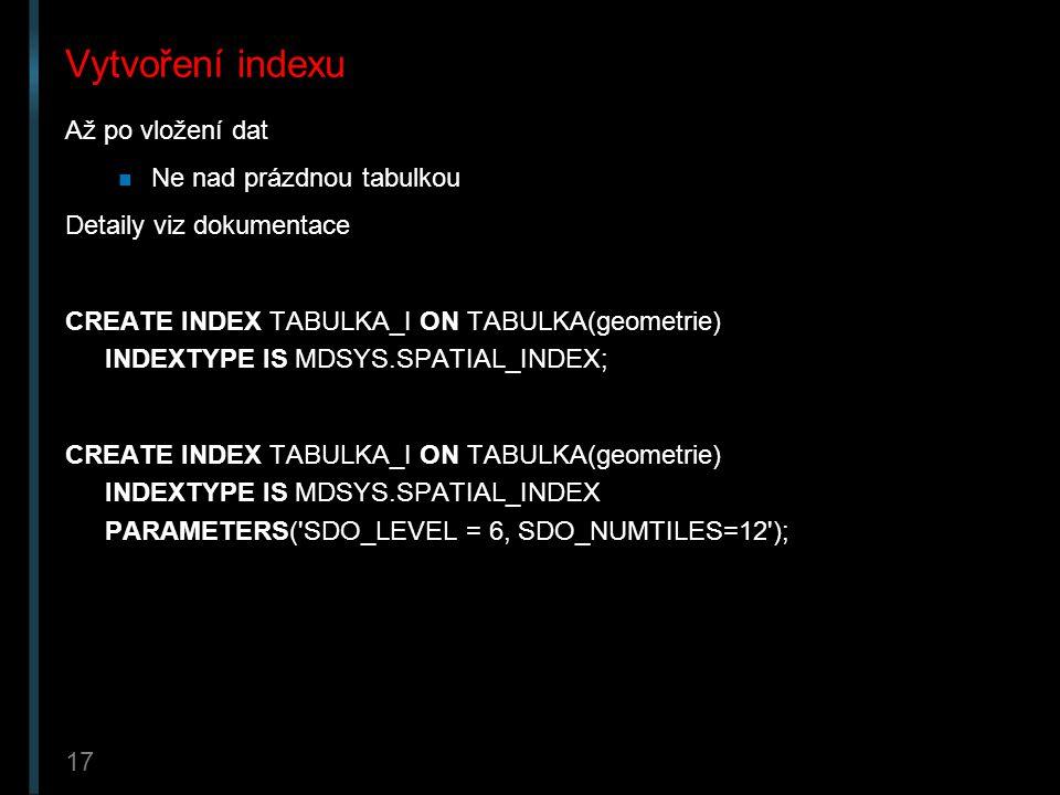 Vytvoření indexu Až po vložení dat Ne nad prázdnou tabulkou