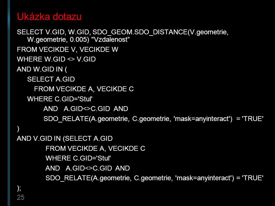 Ukázka dotazu SELECT V.GID, W.GID, SDO_GEOM.SDO_DISTANCE(V.geometrie, W.geometrie, 0.005) Vzdalenost