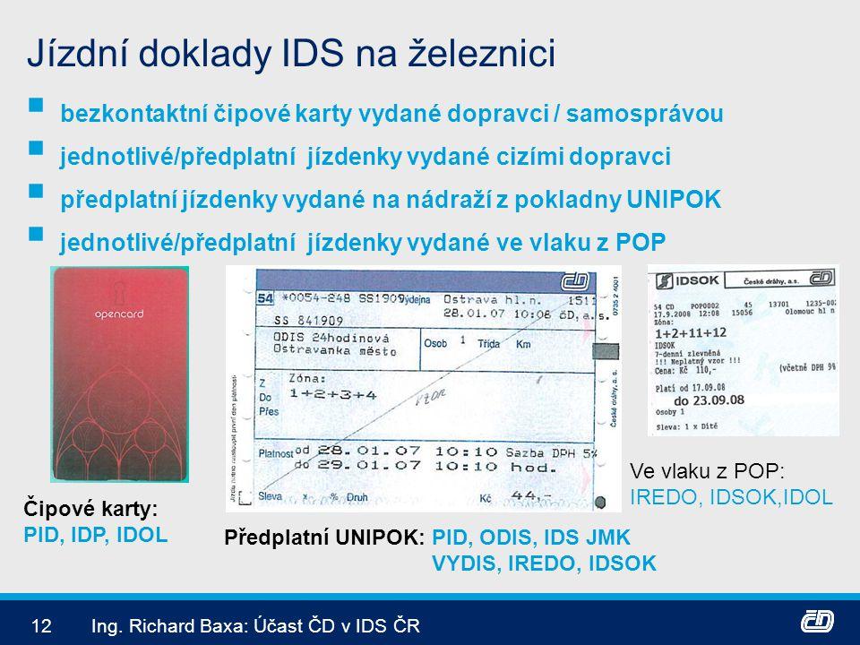 Jízdní doklady IDS na železnici