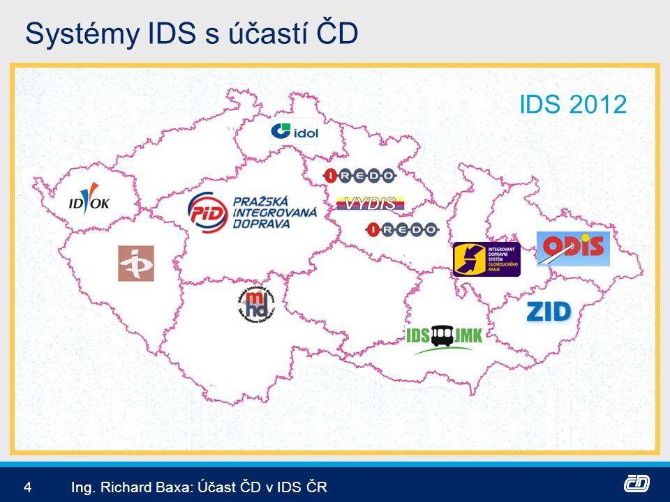 Systémy IDS s účastí ČD IDS 2012 Ing. Richard Baxa: Účast ČD v IDS ČR