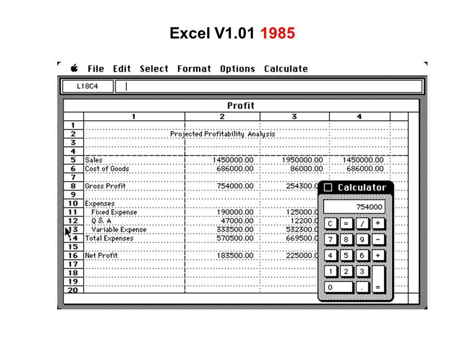 Excel V1.01 1985