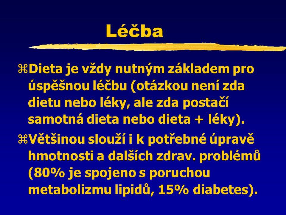 Léčba Dieta je vždy nutným základem pro úspěšnou léčbu (otázkou není zda dietu nebo léky, ale zda postačí samotná dieta nebo dieta + léky).