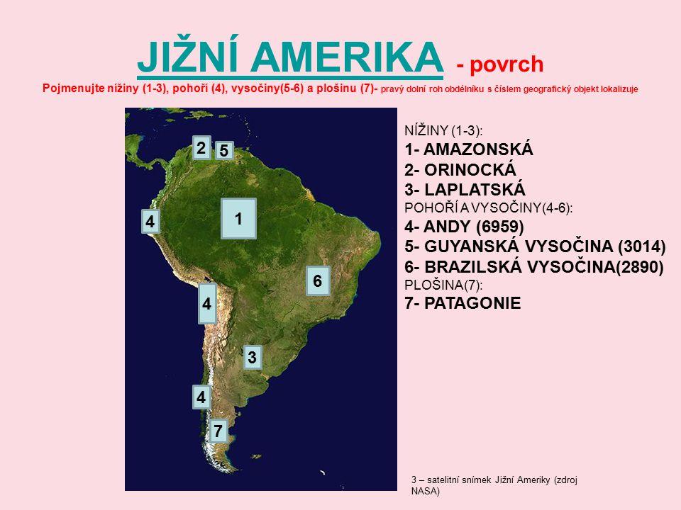 JIŽNÍ AMERIKA - povrch Pojmenujte nížiny (1-3), pohoří (4), vysočiny(5-6) a plošinu (7)- pravý dolní roh obdélníku s číslem geografický objekt lokalizuje