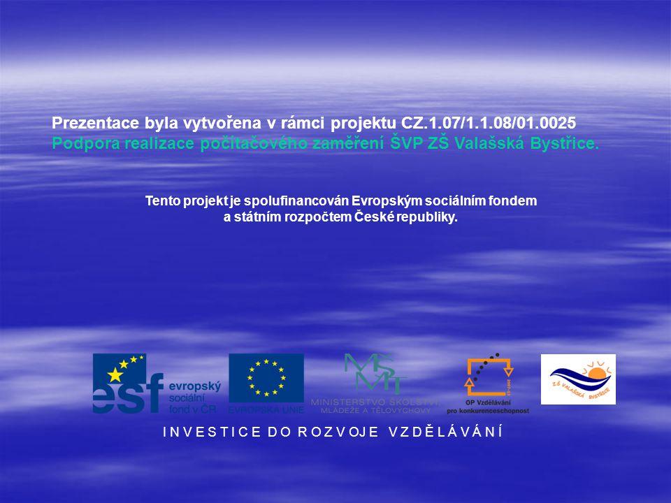 Prezentace byla vytvořena v rámci projektu CZ.1.07/1.1.08/01.0025