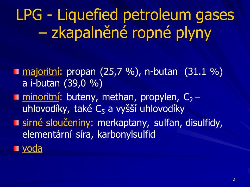 LPG - Liquefied petroleum gases – zkapalněné ropné plyny