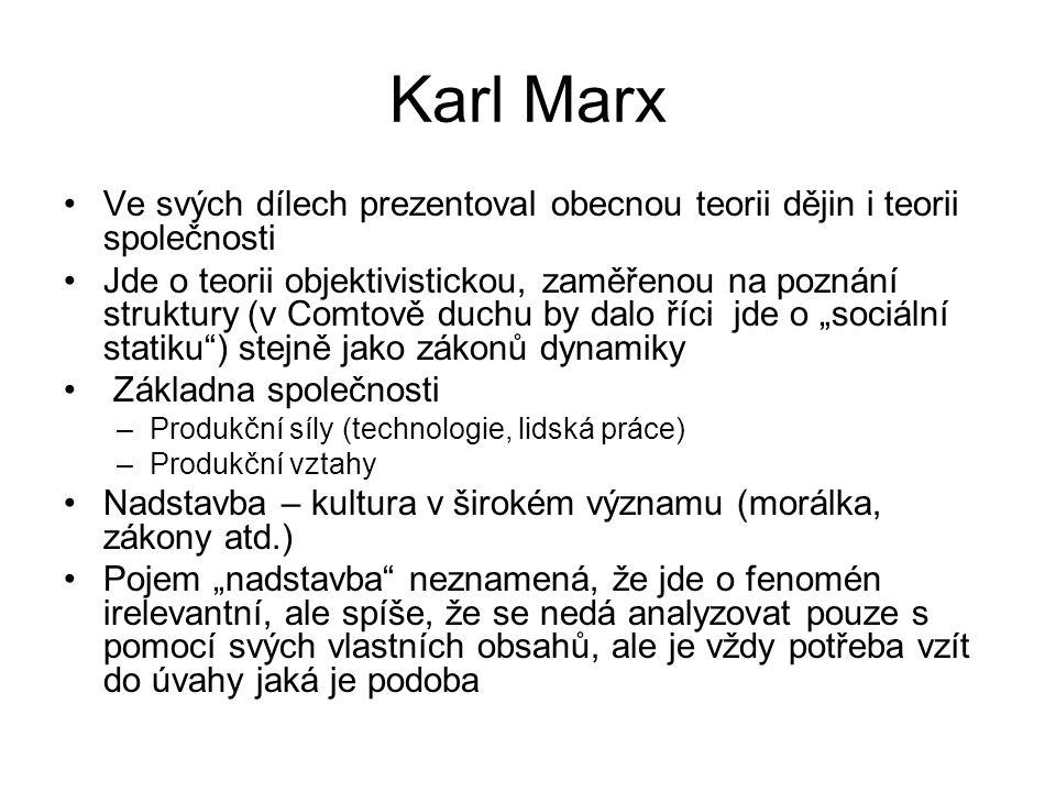 Karl Marx Ve svých dílech prezentoval obecnou teorii dějin i teorii společnosti.