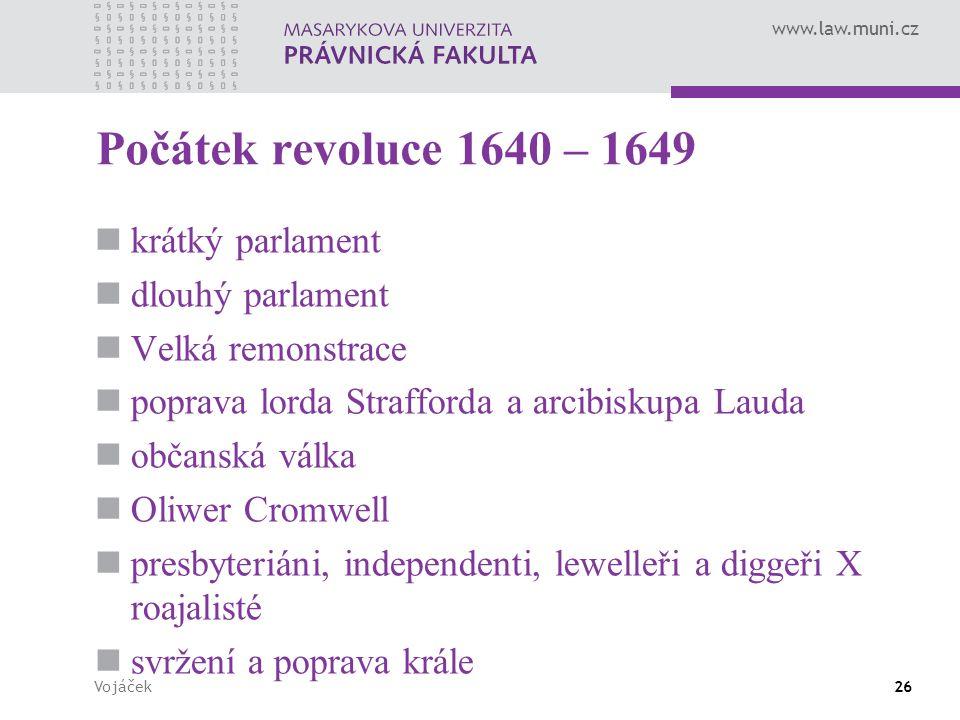 Počátek revoluce 1640 – 1649 krátký parlament dlouhý parlament