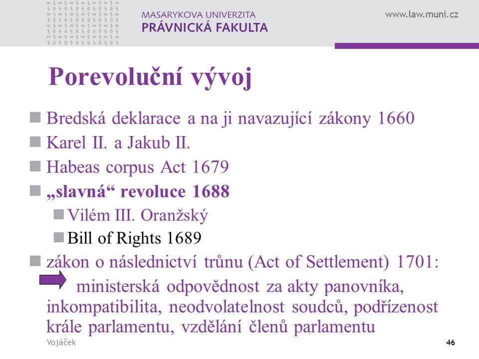 Porevoluční vývoj Bredská deklarace a na ji navazující zákony 1660