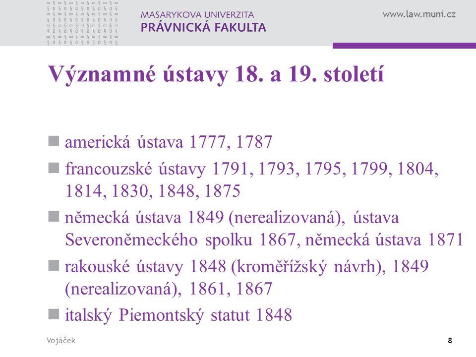 Významné ústavy 18. a 19. století