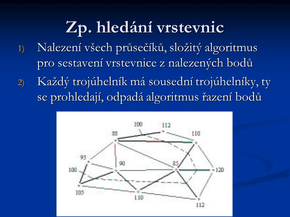 Zp. hledání vrstevnic Nalezení všech průsečíků, složitý algoritmus pro sestavení vrstevnice z nalezených bodů.