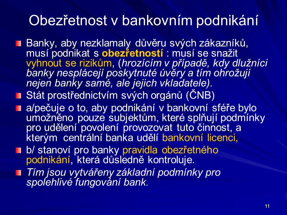Obezřetnost v bankovním podnikání