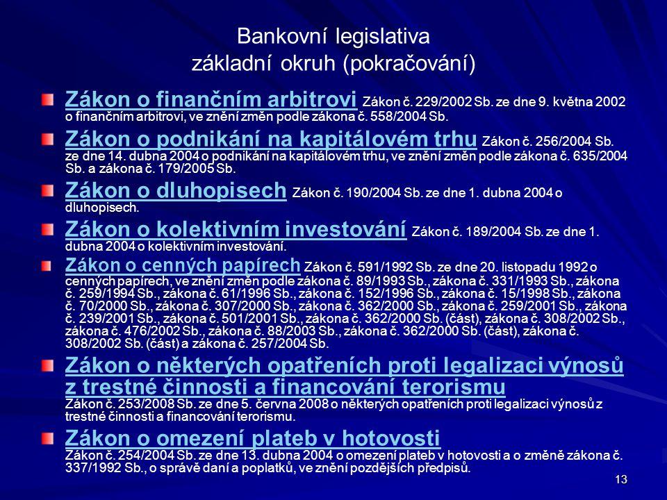 Bankovní legislativa základní okruh (pokračování)