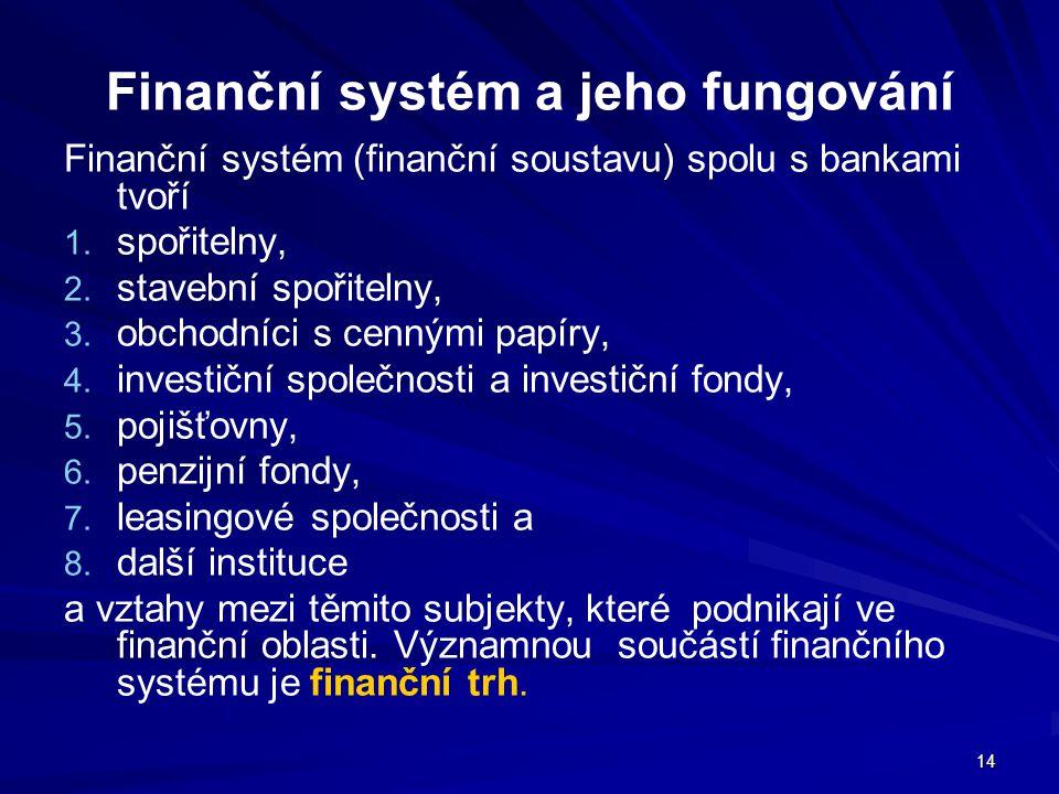 Finanční systém a jeho fungování