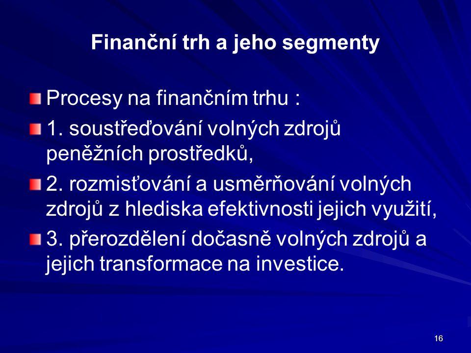 Finanční trh a jeho segmenty