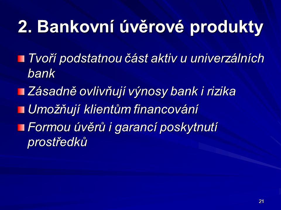 2. Bankovní úvěrové produkty