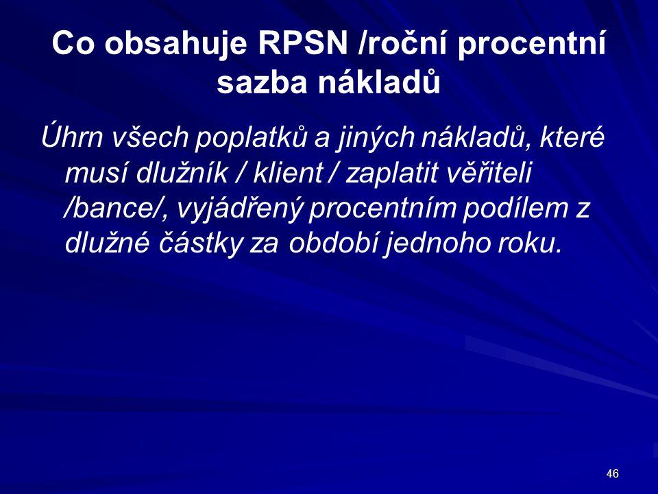 Co obsahuje RPSN /roční procentní sazba nákladů