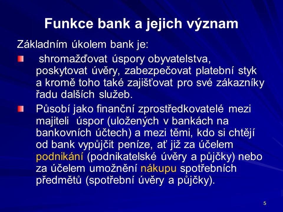 Funkce bank a jejich význam