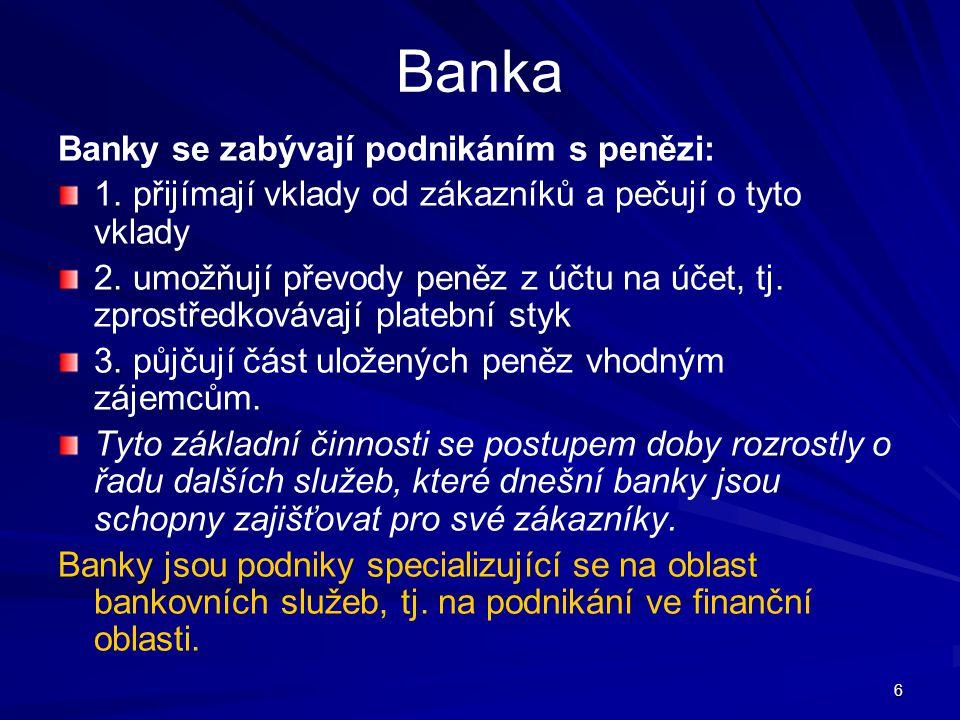 Banka Banky se zabývají podnikáním s penězi: