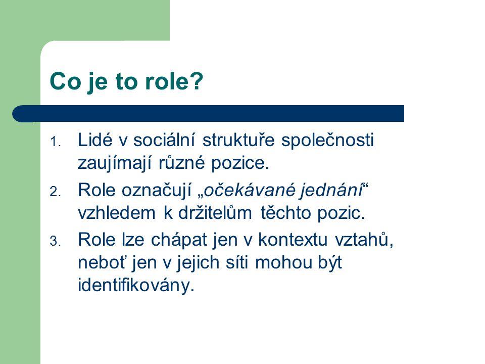 """Co je to role Lidé v sociální struktuře společnosti zaujímají různé pozice. Role označují """"očekávané jednání vzhledem k držitelům těchto pozic."""