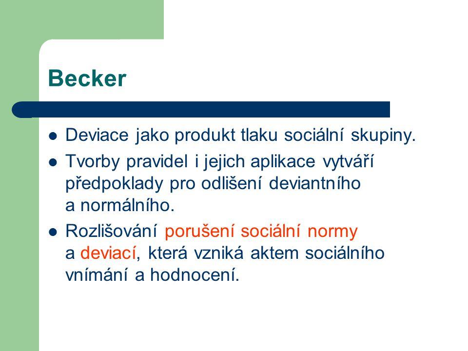 Becker Deviace jako produkt tlaku sociální skupiny.