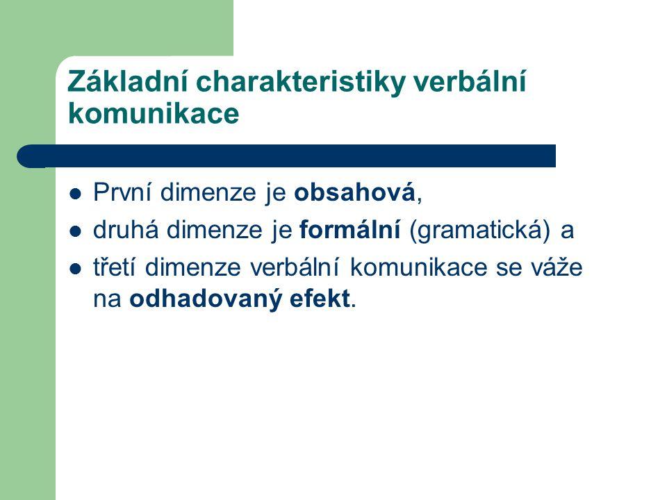 Základní charakteristiky verbální komunikace