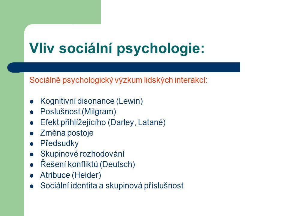 Vliv sociální psychologie: