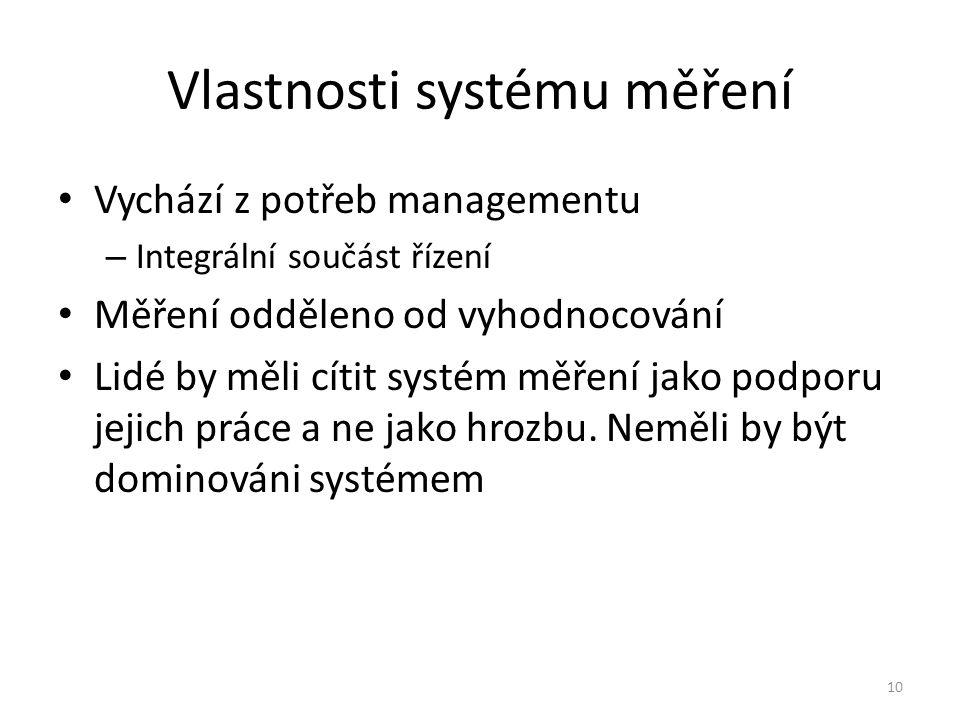 Vlastnosti systému měření