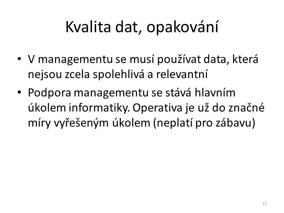 Kvalita dat, opakování V managementu se musí používat data, která nejsou zcela spolehlivá a relevantní.