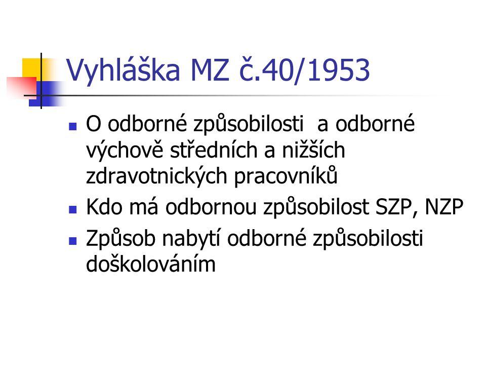 Vyhláška MZ č.40/1953 O odborné způsobilosti a odborné výchově středních a nižších zdravotnických pracovníků.