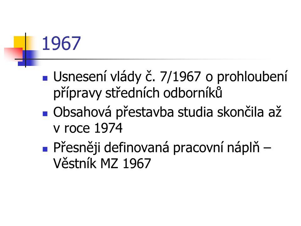 1967 Usnesení vlády č. 7/1967 o prohloubení přípravy středních odborníků. Obsahová přestavba studia skončila až v roce 1974.