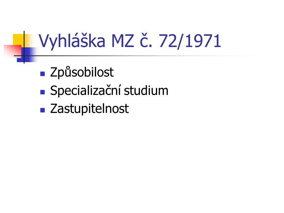 Vyhláška MZ č. 72/1971 Způsobilost Specializační studium