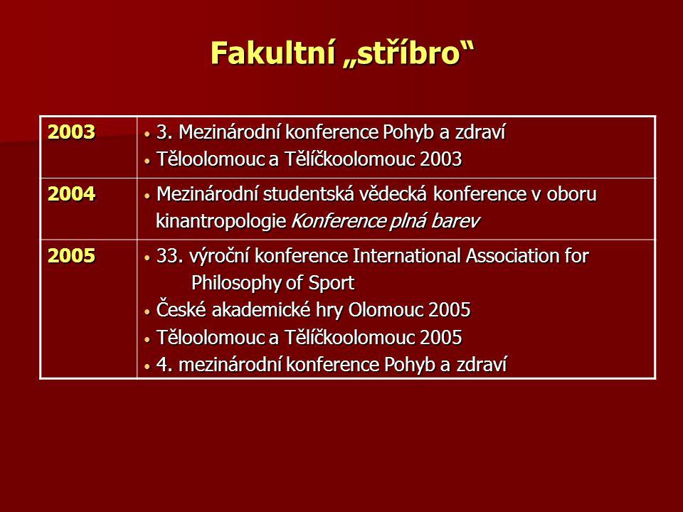 """Fakultní """"stříbro 2003 3. Mezinárodní konference Pohyb a zdraví"""