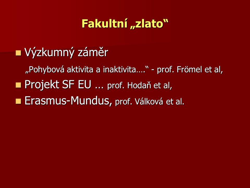 """Fakultní """"zlato Výzkumný záměr. """"Pohybová aktivita a inaktivita…. - prof. Frömel et al, Projekt SF EU … prof. Hodaň et al,"""