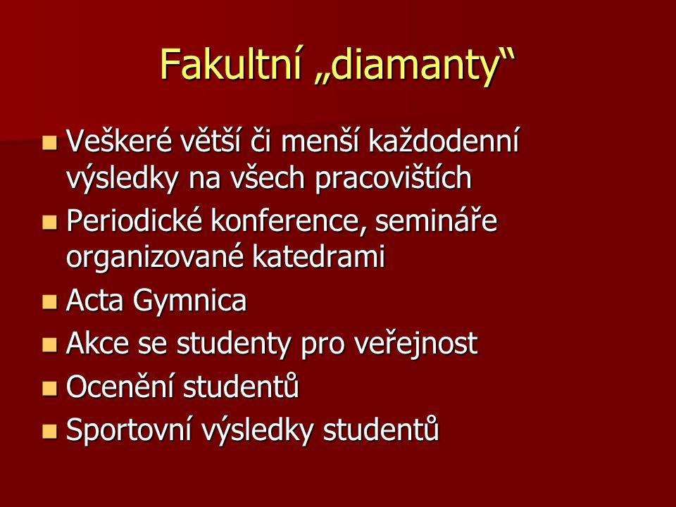 """Fakultní """"diamanty Veškeré větší či menší každodenní výsledky na všech pracovištích. Periodické konference, semináře organizované katedrami."""