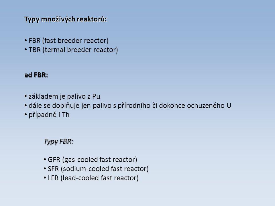 Typy množivých reaktorů: