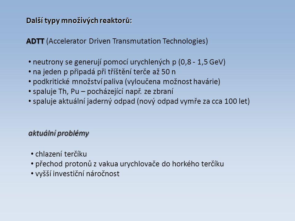 Další typy množivých reaktorů: