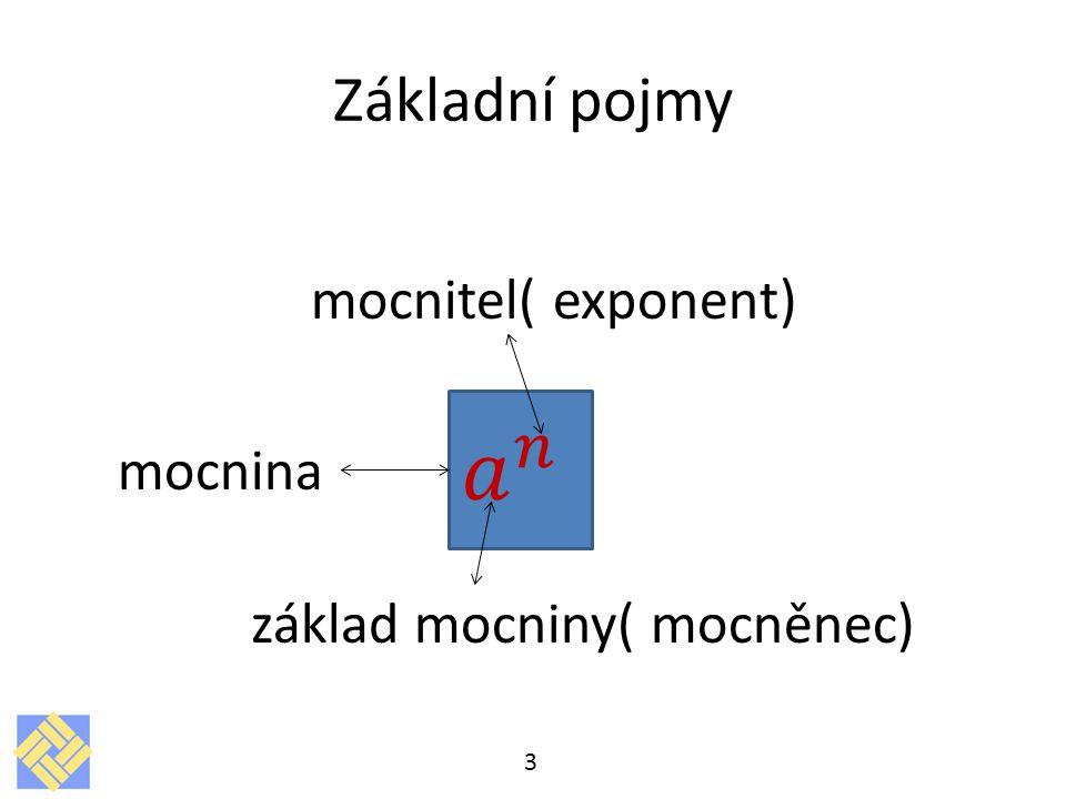 𝑎 𝑛 Základní pojmy základ mocniny( mocněnec) mocnitel( exponent)