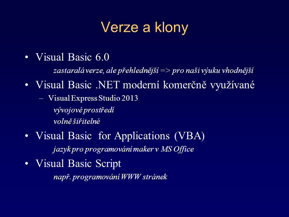 Verze a klony Visual Basic 6.0