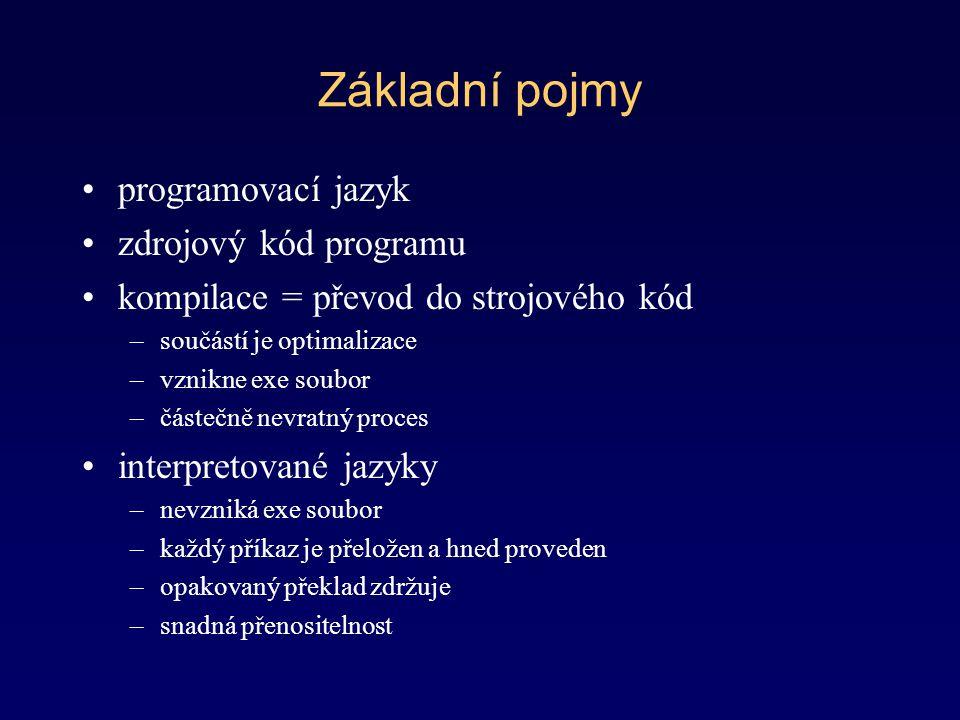 Základní pojmy programovací jazyk zdrojový kód programu