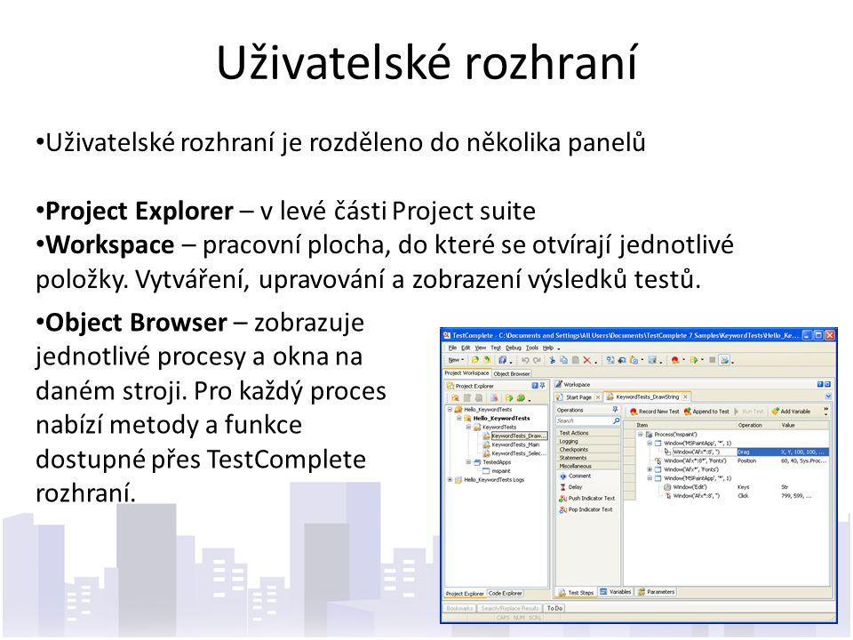 Uživatelské rozhraní Uživatelské rozhraní je rozděleno do několika panelů. Project Explorer – v levé části Project suite.