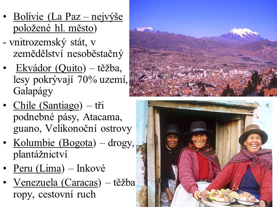 Bolívie (La Paz – nejvýše položené hl. město)