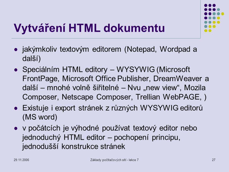 Vytváření HTML dokumentu