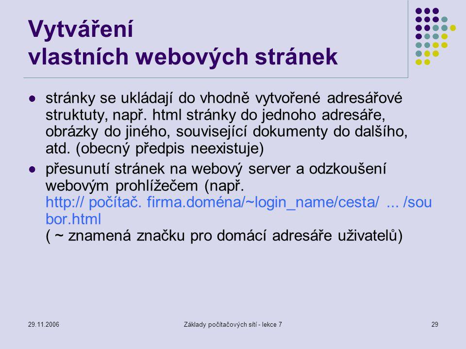 Vytváření vlastních webových stránek