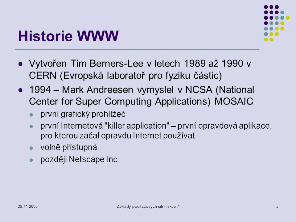 Základy počítačových sítí - lekce 7