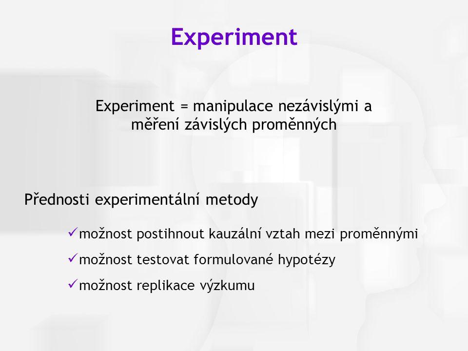 Experiment = manipulace nezávislými a měření závislých proměnných