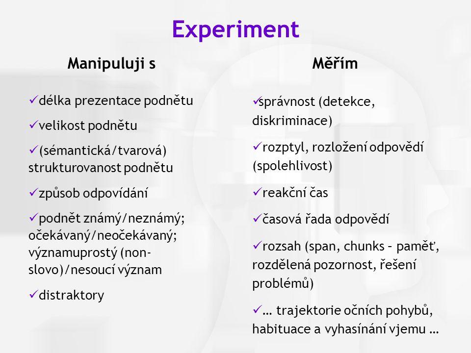 Experiment Manipuluji s Měřím délka prezentace podnětu