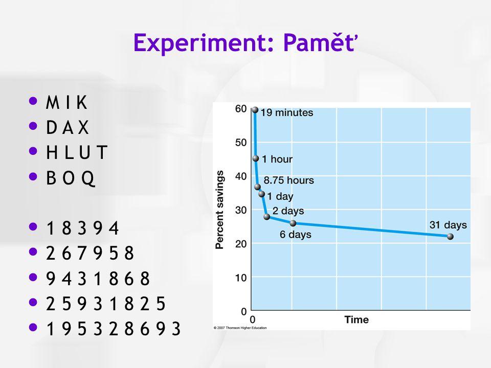 Experiment: Paměť M I K D A X H L U T B O Q 1 8 3 9 4 2 6 7 9 5 8