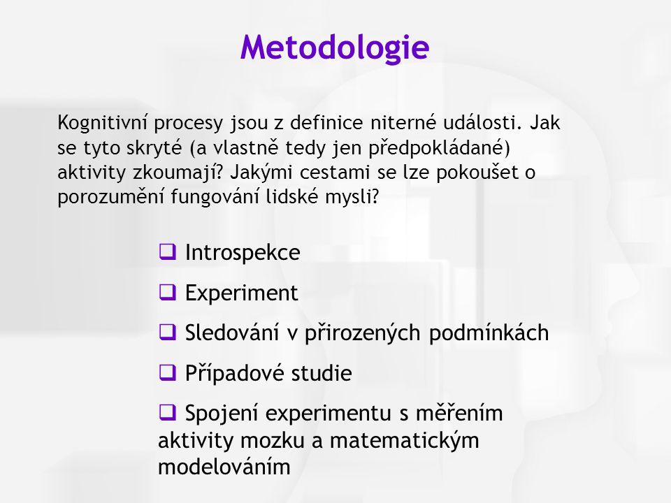 Metodologie Introspekce Experiment Sledování v přirozených podmínkách