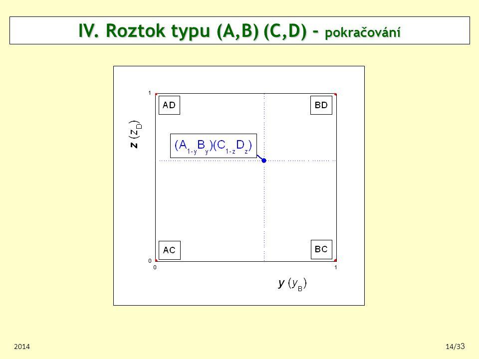 IV. Roztok typu (A,B) (C,D) - pokračování